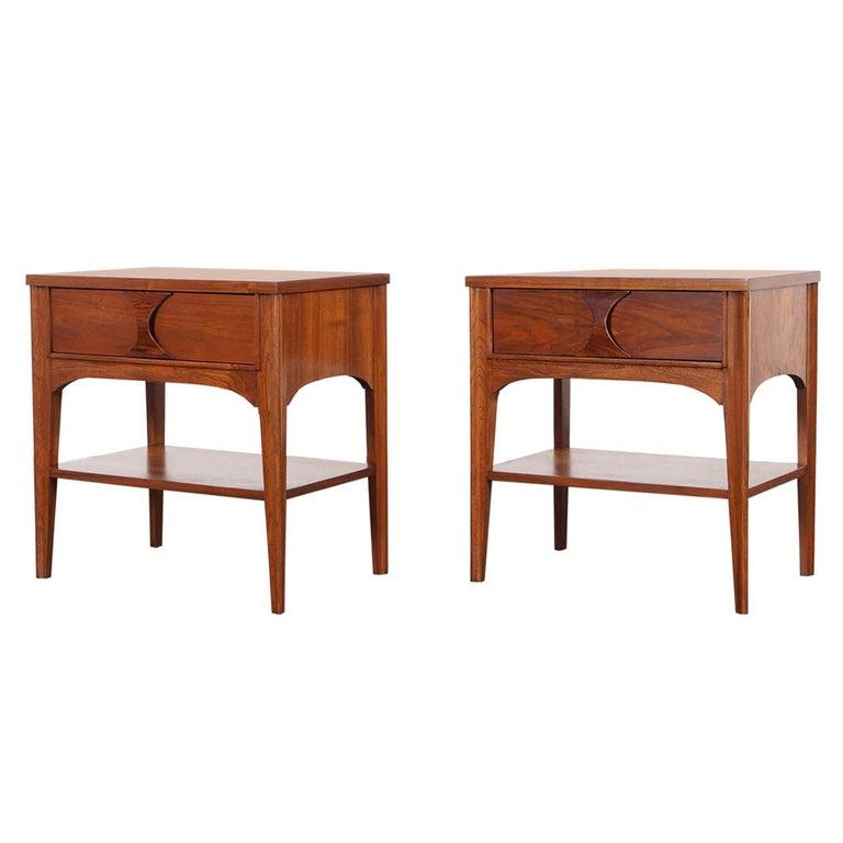 Midcentury Walnut Perspecta Nightstands By Kent Coffey 1 800per Item Modern Bedroom Set Low Dresser Vintage Nightstand