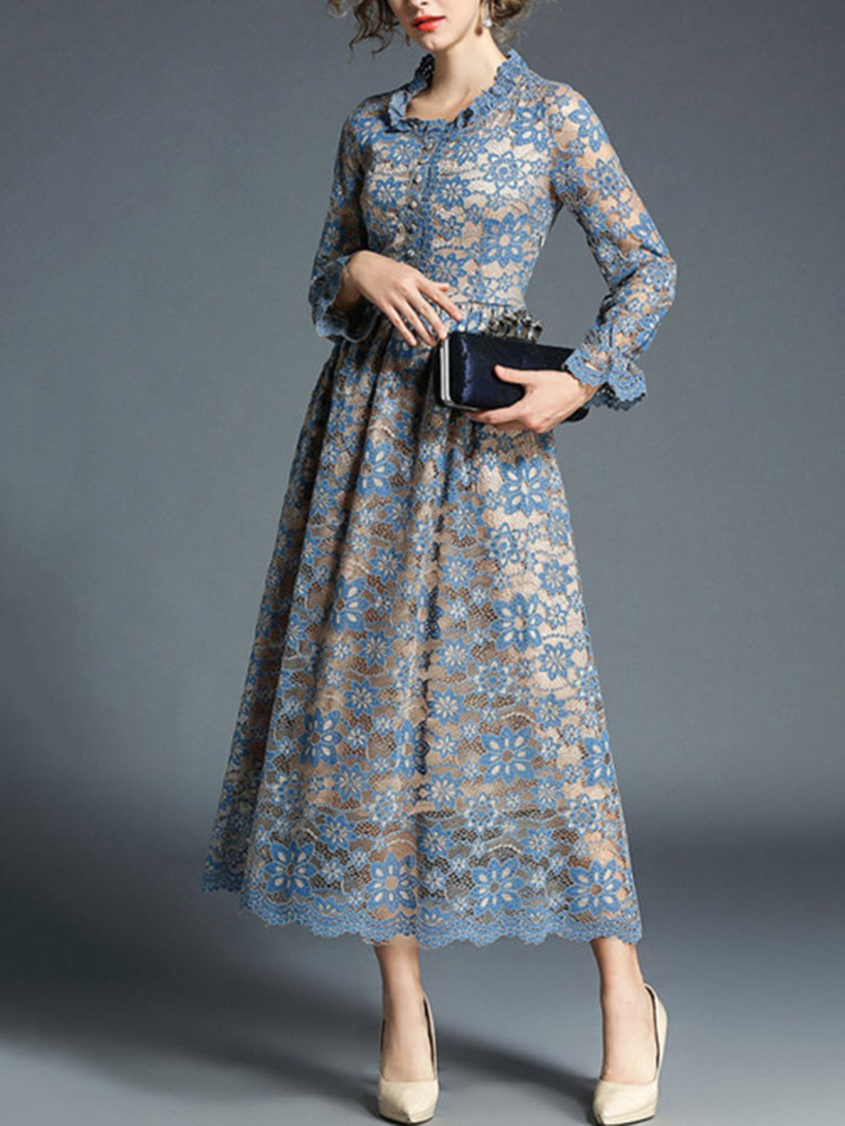 c2d8d9e7ee Scallop Trim Button Front Lace Dress -SheIn(Sheinside)