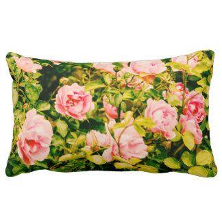 Pink garden roses pillow