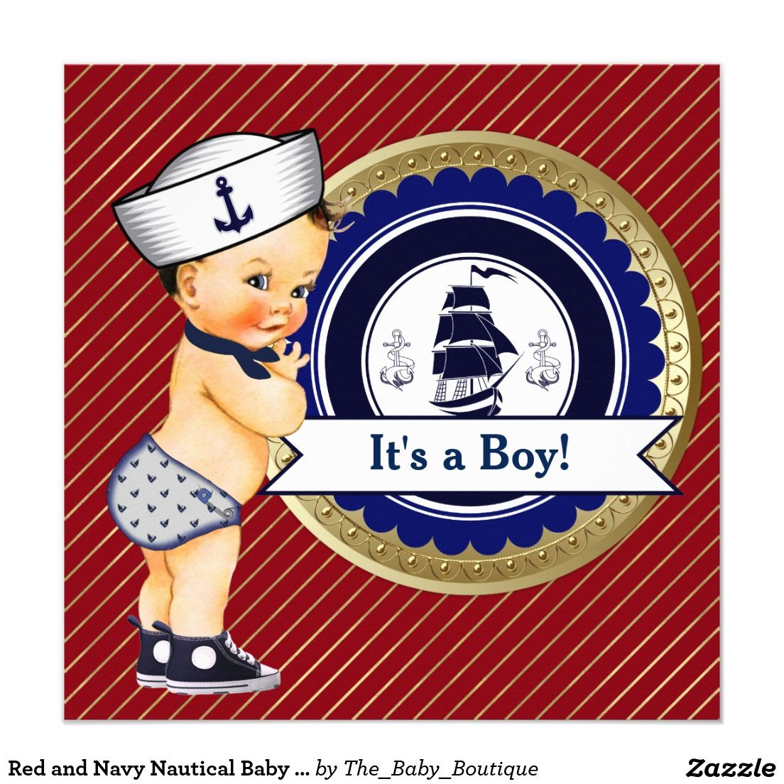 Red and Navy Nautical Baby Shower Invitation   Nautical Baby Shower ...