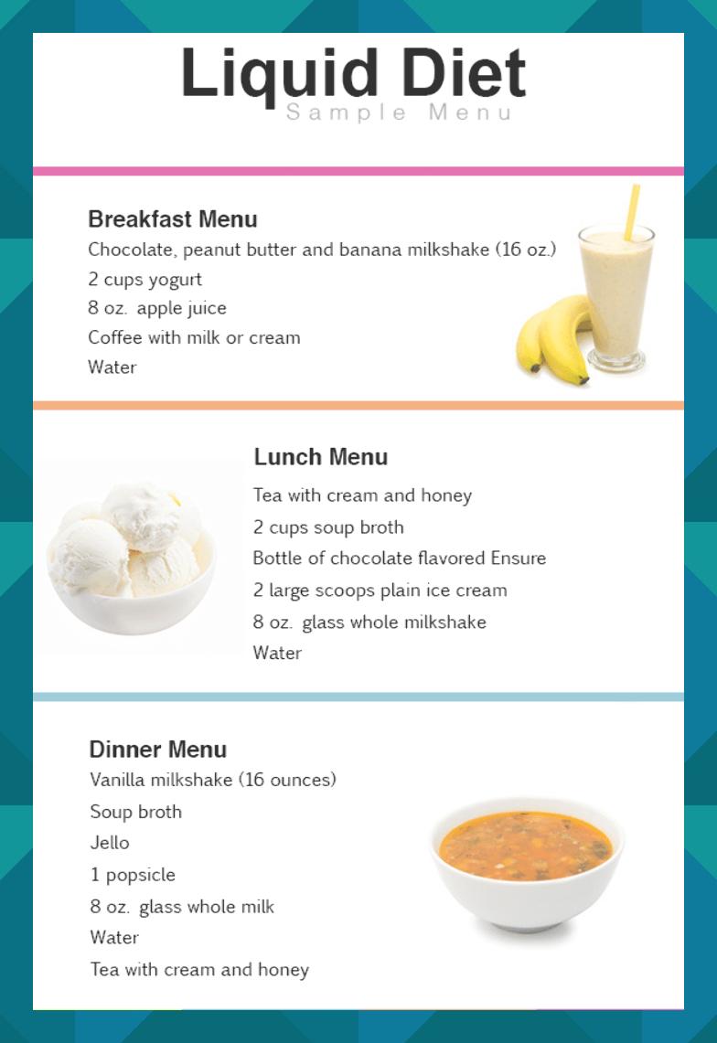 liquid diet plan Liquid diet plan, Clear liquid diet
