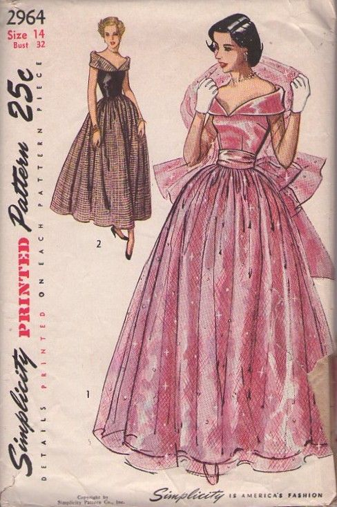f13bf3d3f4d mplicity 2964 Vintage 40 s Sewing Pattern DIVINE Bertha Portrait Collar  Evening Dress