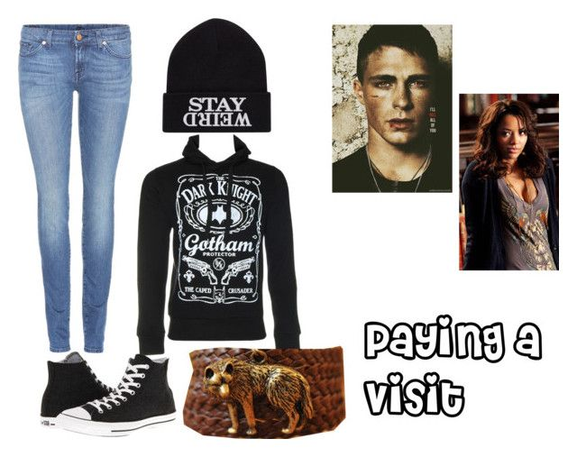 """""""Paying a Visit"""" by spazstyle ❤ liked on Polyvore featuring 7 For All Mankind, Converse and Retrò"""