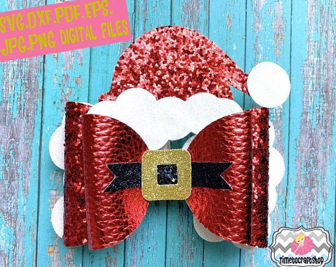 Holiday Christmas Girl Elf Hat Hair Bow Template. Svg. Dxf