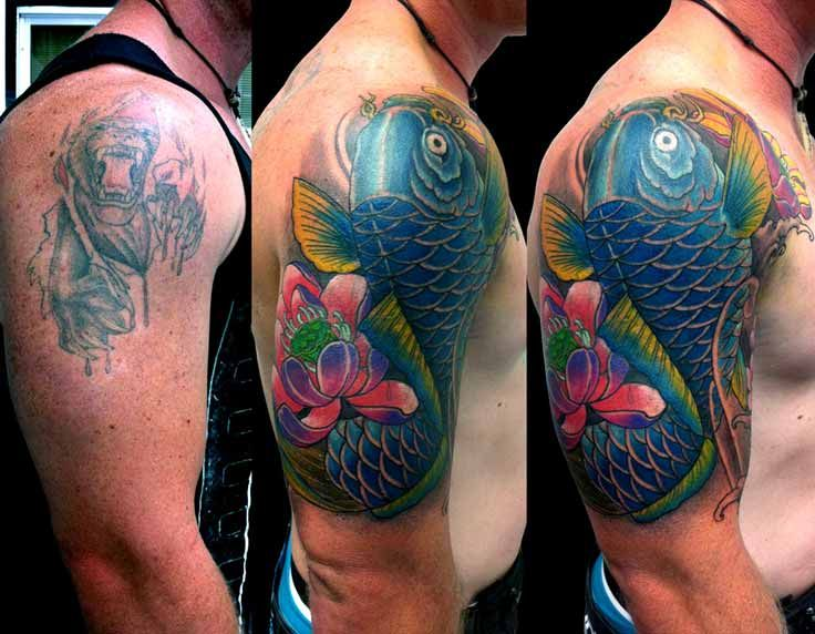 Stunning Japanese Cover Up Shoulder Tattoo Design Cover Up