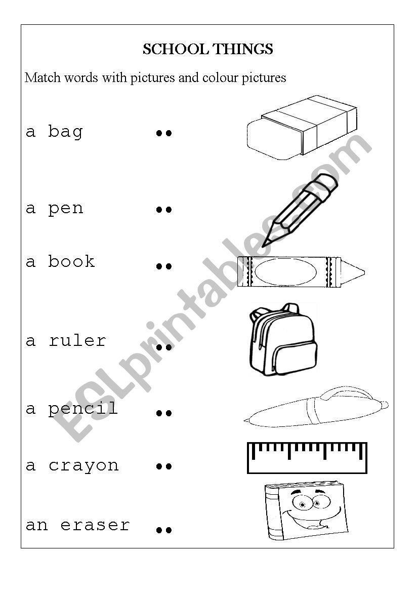 Helps Students Remember Vocabulary Related To School Supplies And Feel Relax When Colori Kids School Supplies English Worksheets For Kids Vocabulary Worksheets [ 1169 x 826 Pixel ]