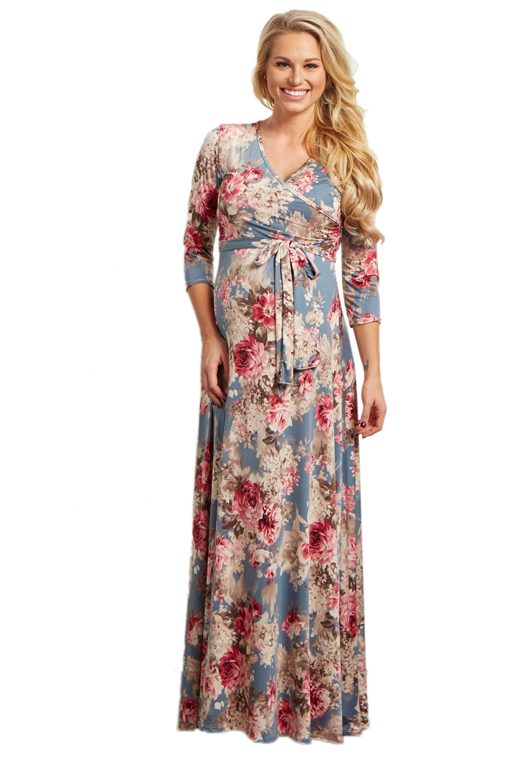 6510d9cc09dbf Women Maternity Clothes - PinkBlush Maternity Light Blue Floral Sash Tie  Maxi Dress Large >>> Learn more by seeing the photo web link.
