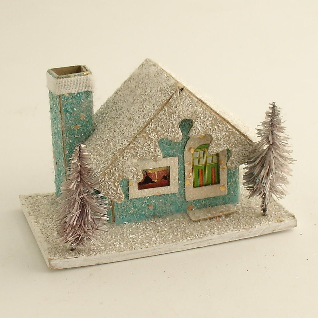 Vintage Christmas Mica Putz House W Bottle Brush Trees Village Etsy Vintage Christmas Decorations Putz Houses Vintage Christmas