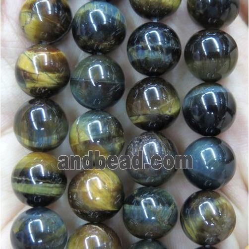 tiger eye bead, round, yellowblue (GMLB2718-8MM) approx 8mm dia