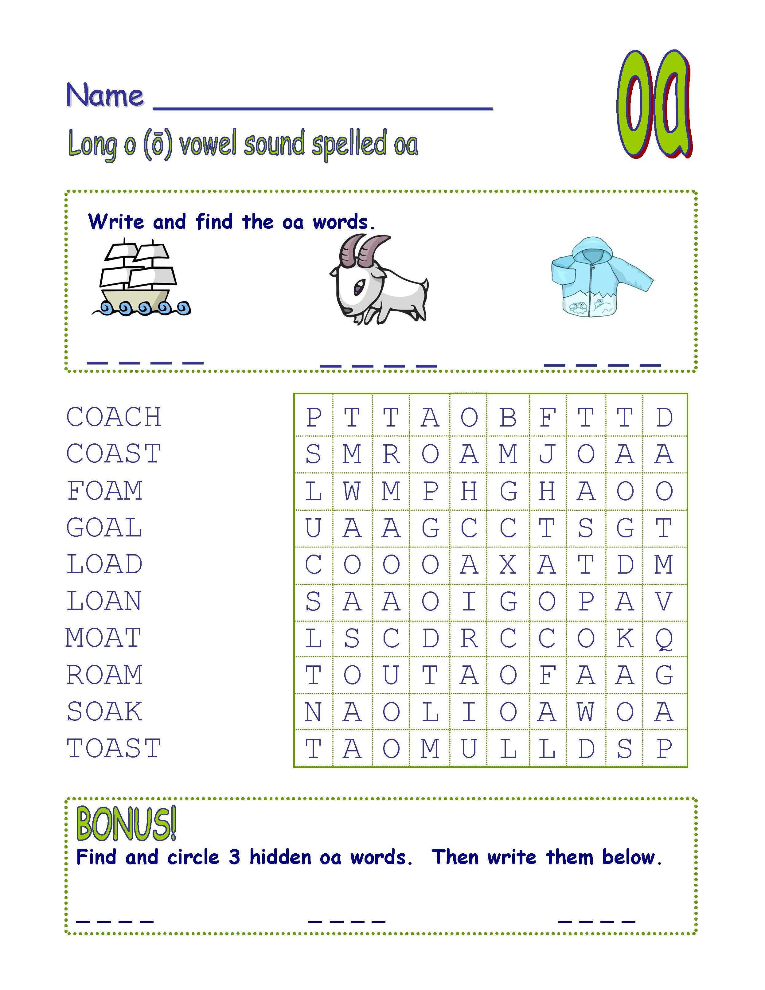 Digraph Long Vowel \