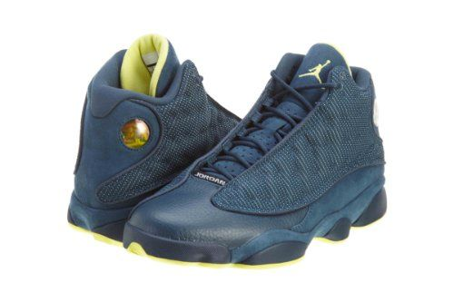 2082f78690a611 discount mens nike air jordan retro 13 basketball shoes squadron blue  electric yellow black 414571 405