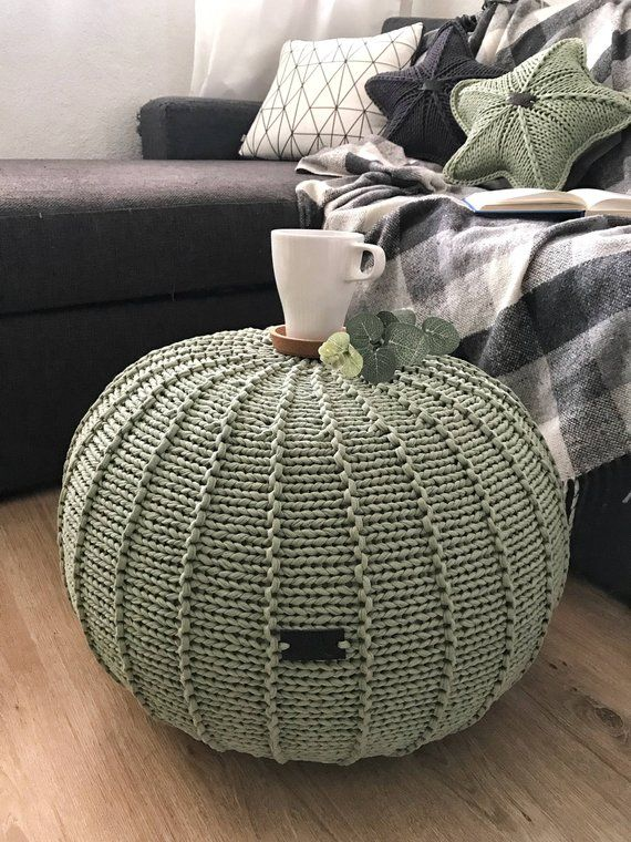 Sage Green Knitted Pouf Floor Pouf Ottoman Knitted Pouf Knit Pouf