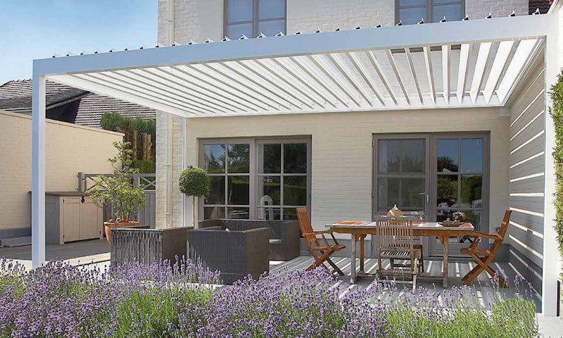 Keizon zonwering overkappingen keizon zonwering geveltechniek terrasoverkapping maken - Terras met houten pergolas ...