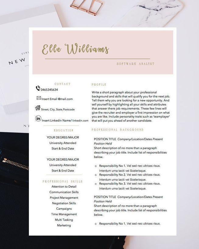 minimalist resume template  cv design  teacher resume