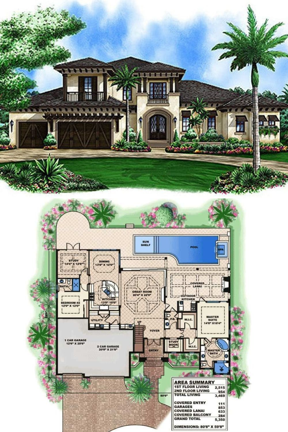 4 Bedroom Two Story Spanish Home With Balconies Floor Plan Spanish House Plans Spanish House Spanish Style Homes