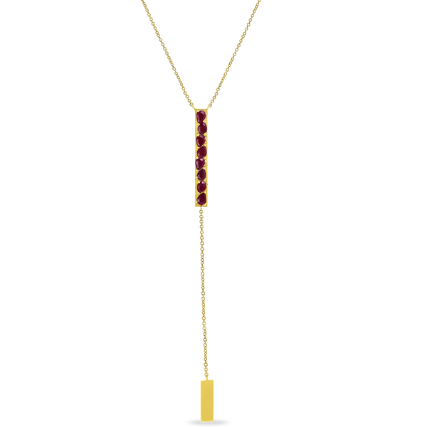 "Our latest addition to our Ruby Romance collection is this stunning design. This unique Ruby Lariat Necklace.  Made in 18K yellow gold with 1.48cts of beautiful unheated Burmese Rubies.  This Necklace measures 24.5"" total lenght. Manufactured in our studios in Los Angeles. Available now for immediate delivery!"