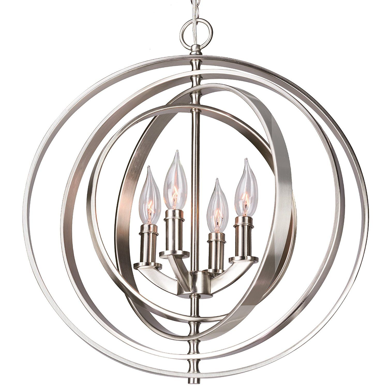 """Revel Orbits 18"""" 4-Light Modern Sphere/Orb Chandelier, Brushed Nickel Finish - - Amazon.com"""