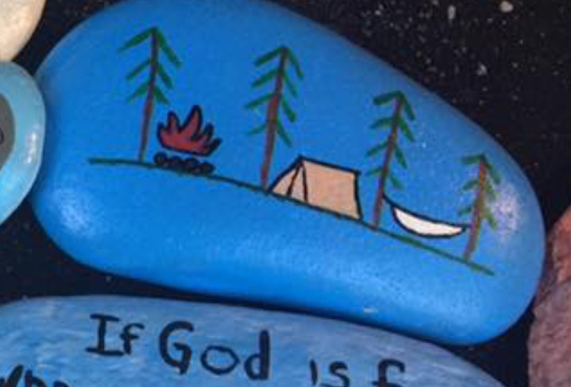 Camping Tent Painted Rock Painted Rocks Stone Painting Rock Art