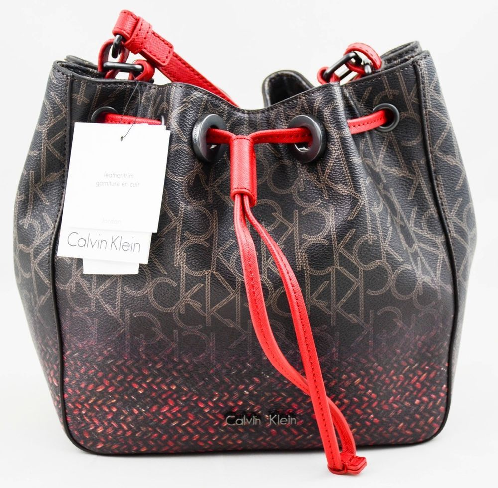 0d9eb7fb5b4f17 New Calvin Klein Purse Bag Jordan Brown Drawstring Shoulder Bag Authentic