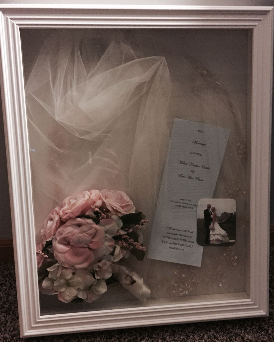 Finally Made A Shadow Box For My Veil 6 Years Later Wedding Shadow Box Bouquet Shadow Box Wedding Bouquet Preservation