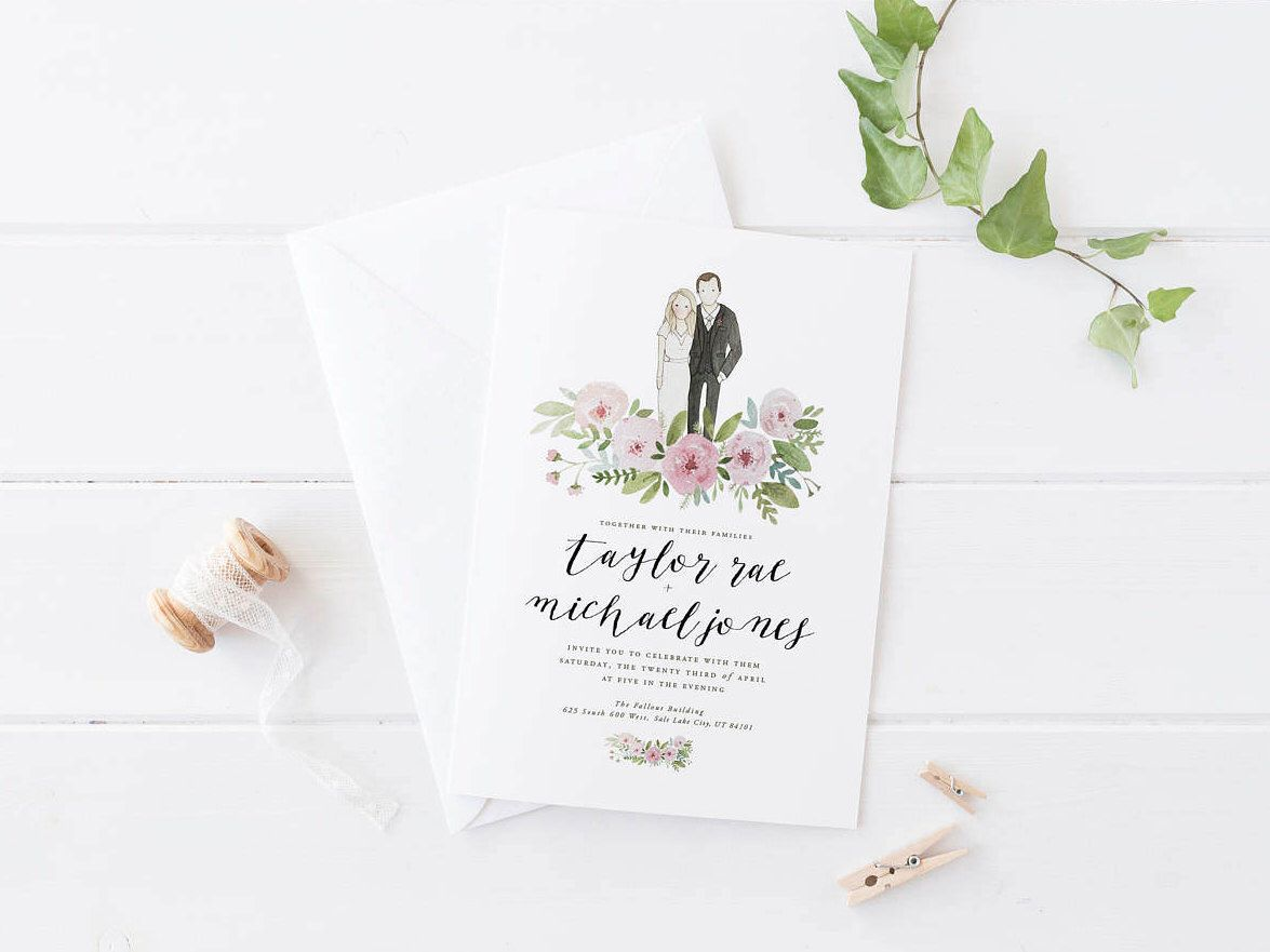 Custom Portrait Wedding Invitation | Hand illustrated | watercolor ...