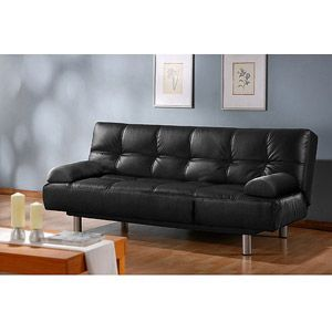 299 Atherton Home Manhattan Convertible Futon Sofa Bed And Lounger Black Faux Leather