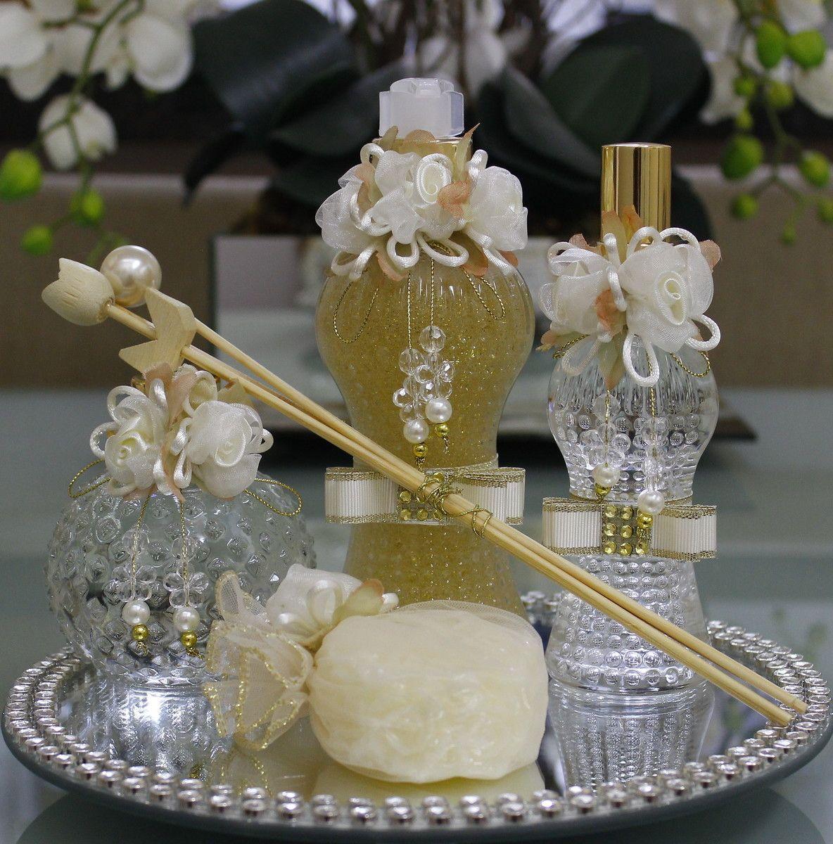 Kit Para Banheiro Decorado : Kit lavabo luxo marfim adornos decorativos flores de