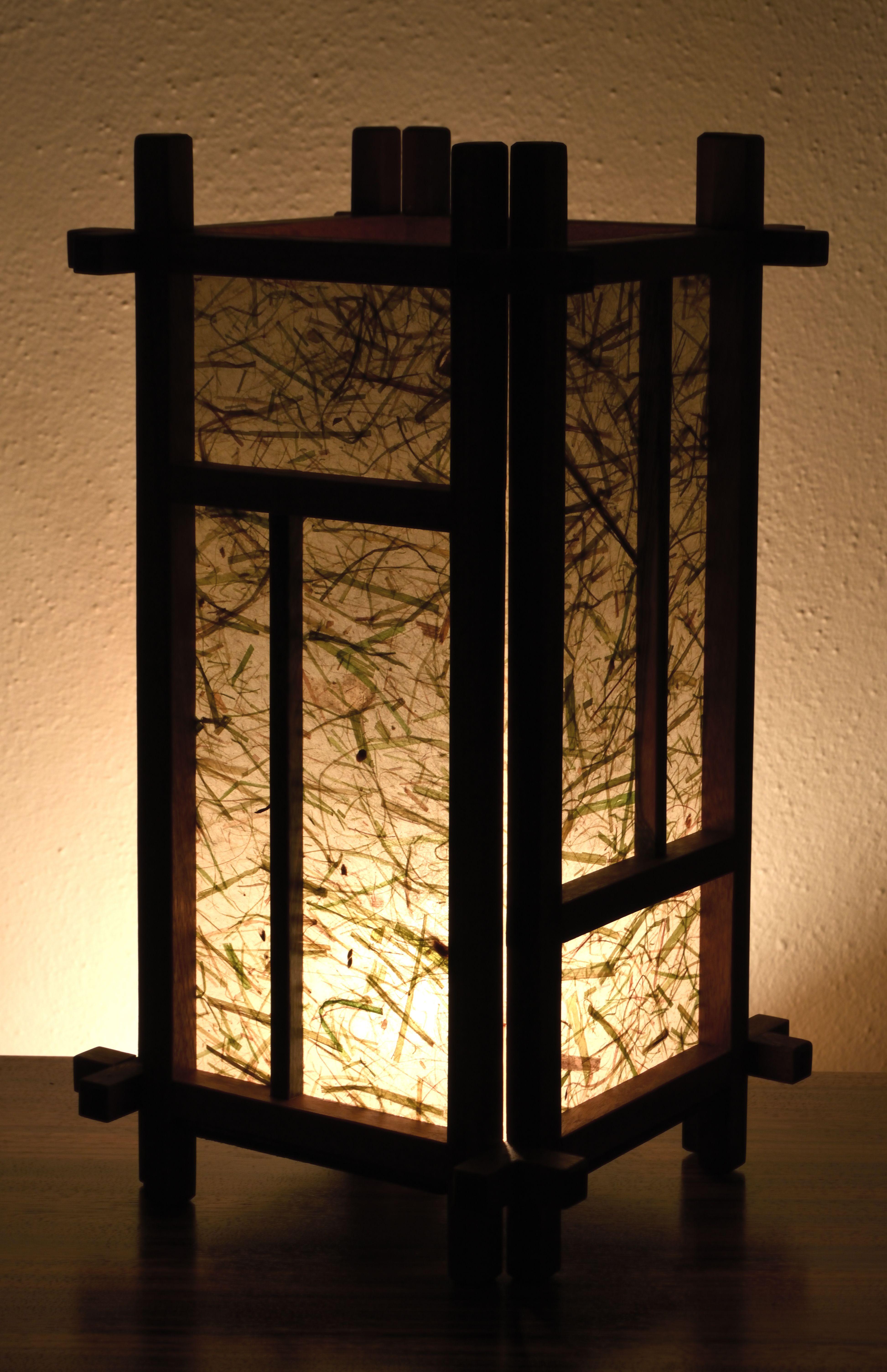 Shoji Lamp Created With Sapele And Bocote Wood And Lemongrass Natural Kozo Paper Lamp Sapele Asian Floor Lamps