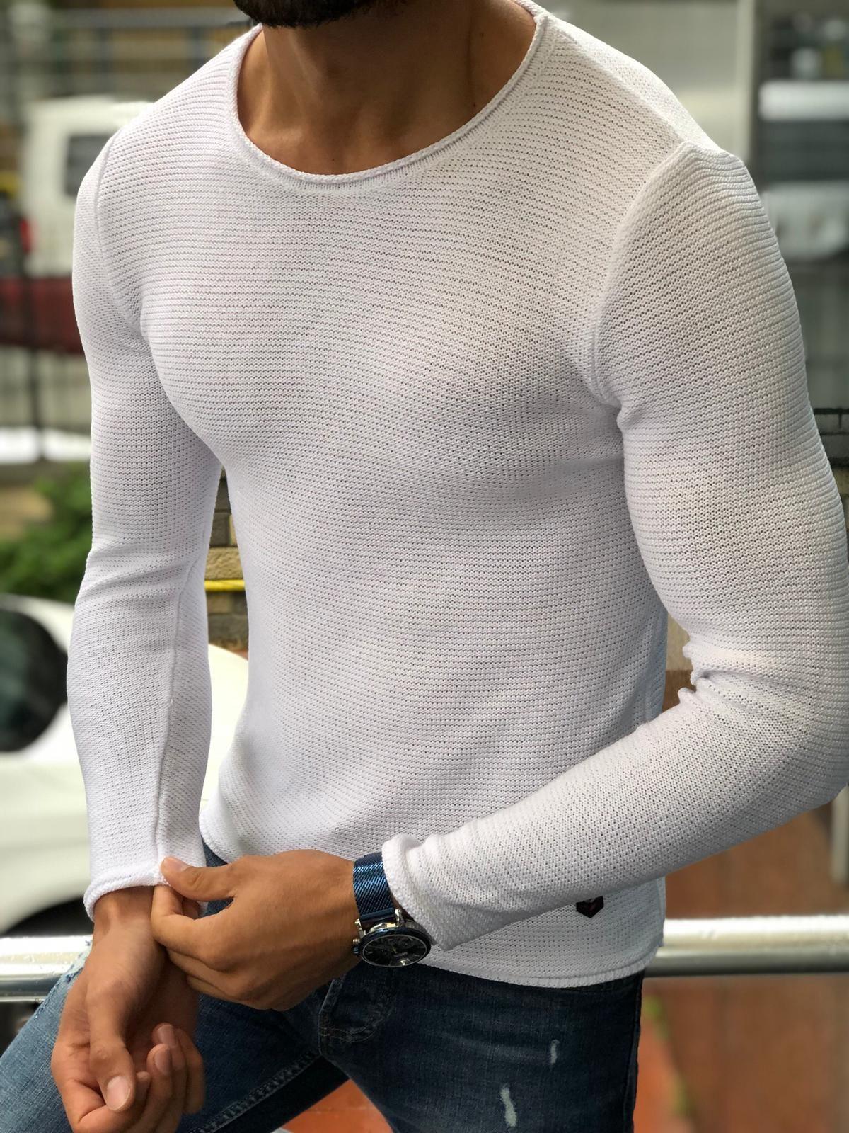 Knitted Pullover Mens Casual Slim Fit Grey Sweatshirt Jumper Tag S M L XL XXL
