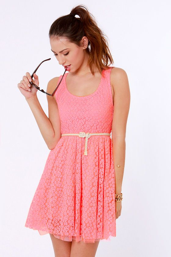 Lost Moxie Neon Pink Lace Dress My Style Dresses Neon
