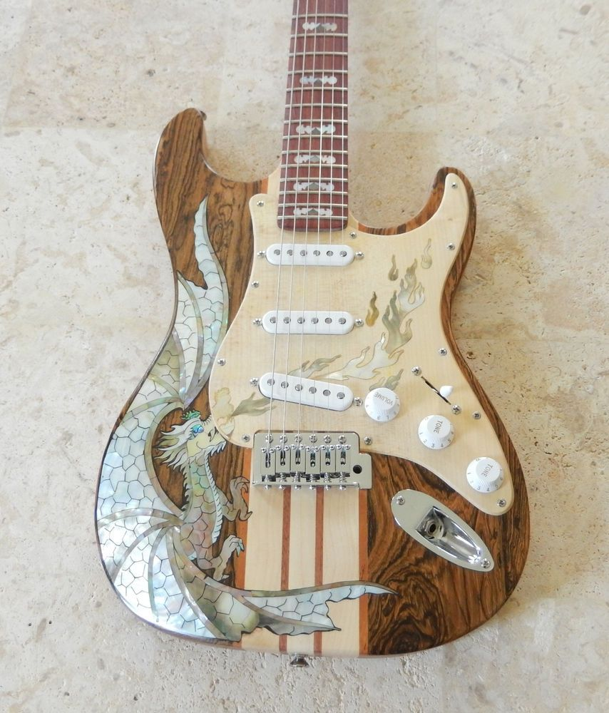 UNIQUE Custom Built Wood Stratocaster Style Guitar Shimmering Dragon Design