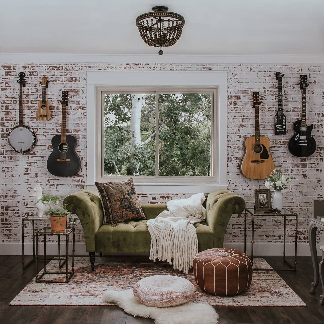 Music Room Inspo Guitar Wall Before And After Home Renovation Faux Brick Wall German Smear Morocc Music Room Decor Home Music Rooms Music Room Office