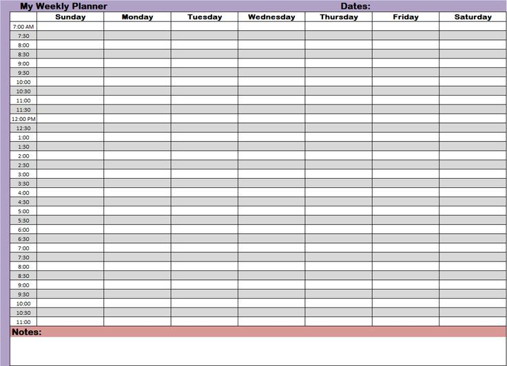 Time Management Planner Templates  Organization