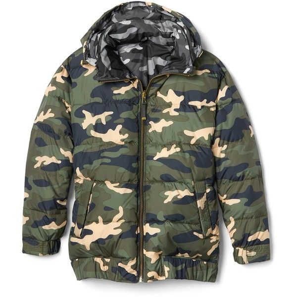 Reversible camo puffer jacket ($168) ❤ liked on Polyvore featuring outerwear, jackets, camoflage jacket, camouflage puffer jacket, puffer jacket, reversible jackets and camoflauge jacket