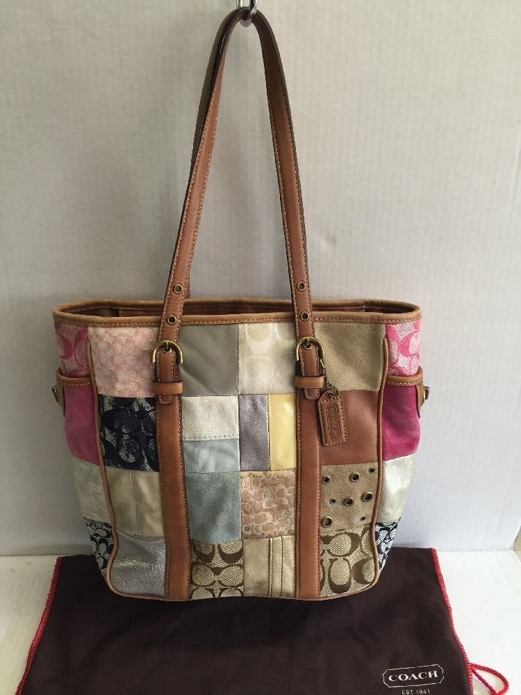 Coach B06q 1000 Patchwork Tote Handbag Leather Suede Canvas Multicolor Awesome Totespers