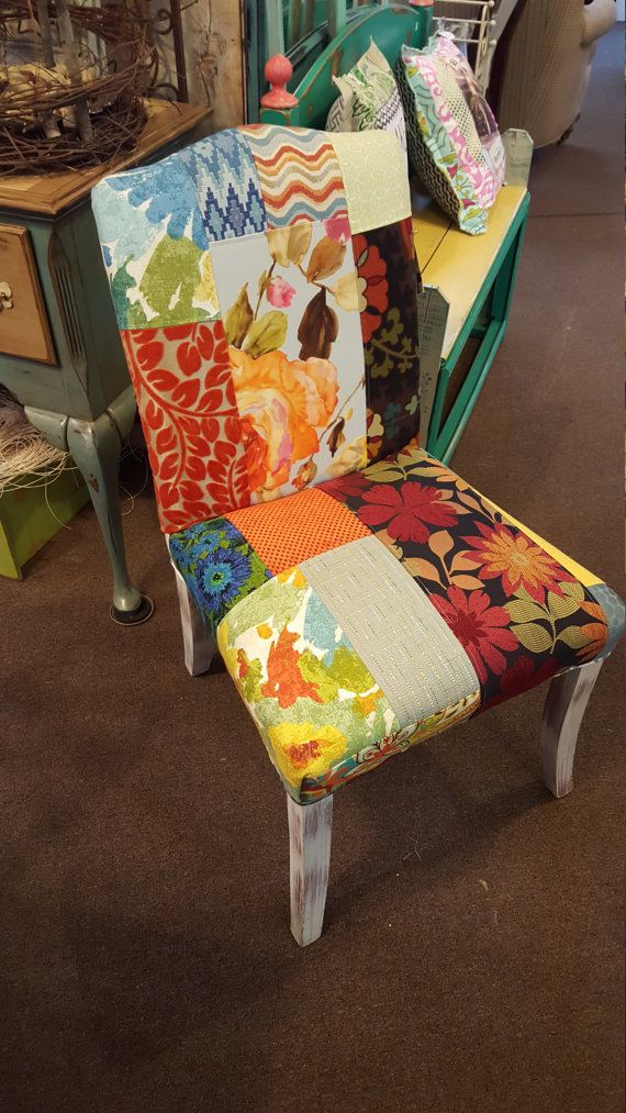 Sew Fab Patchwork Parsons Chair // Up-Cycled Dining Chair ... | parsons furniture nh
