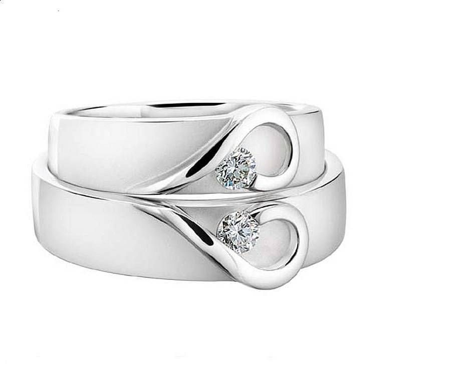 his and hers white gold heart wedding bands - White Gold Wedding Rings