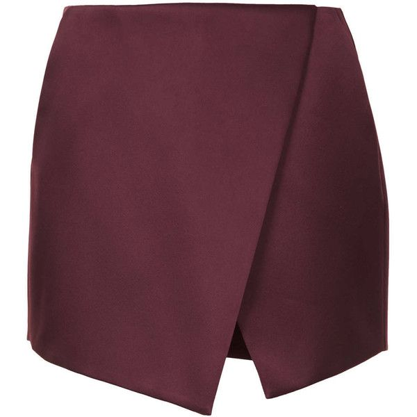 TOPSHOP Mulberry Luxe Satin Wrap Skort (€36) ❤ liked on Polyvore featuring skirts, mini skirts, bottoms, skort, shorts, mulberry, skort skirt, asymmetrical mini skirt, wrap skirt and topshop