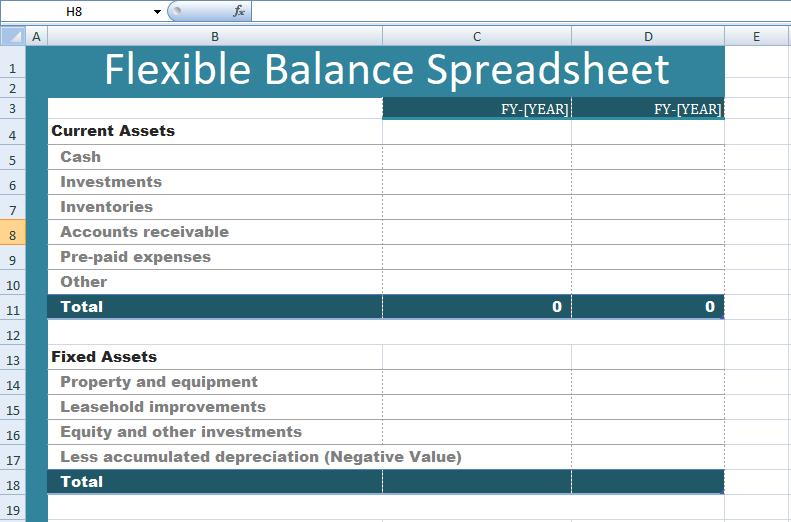 Get Flexible Balance Spreadsheet Templates – Excel Spreadsheet ...