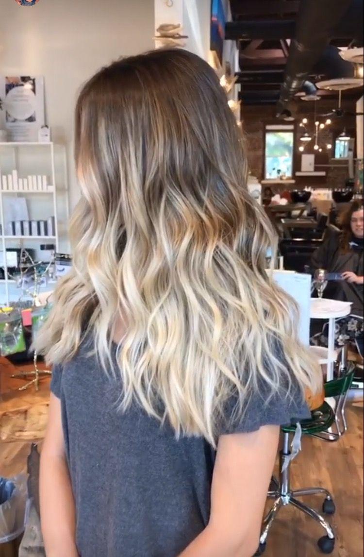 Baliage Hair Ash Blonde Ombre Brown Beach Hair Medium Haircut
