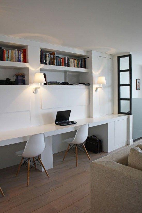 Een mooie werkplek in de woonkamer bureau ideeen kamer pinterest werkkamer bureaus en zolder - Mezzanine woonkamer ...