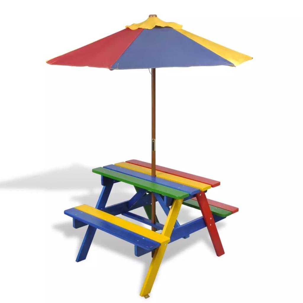 Kinder Picknicktisch Sonnenschirm Picknick Set Gartenmobel Bank