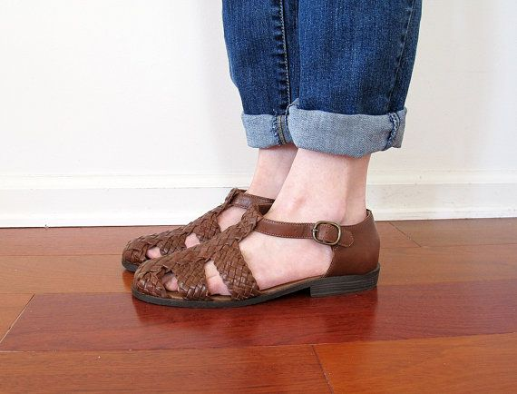 90/'s Vintage The Leather Collection Brown Woven Leather Huaraches