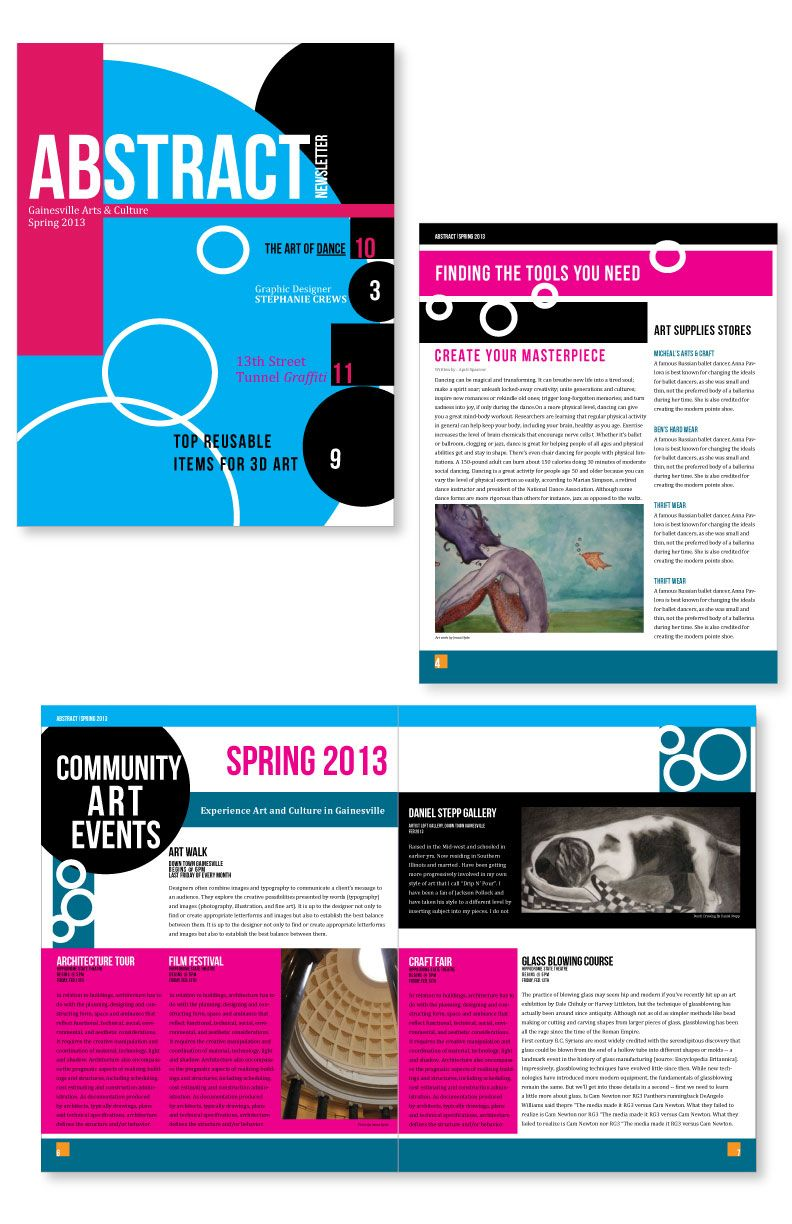 Newsletter Design Adobe Illustrator, Photoshop & InDesign Created by ...