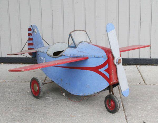 Antique Airplane Tricycle : Child s amusement park arcade car mechanical airplane