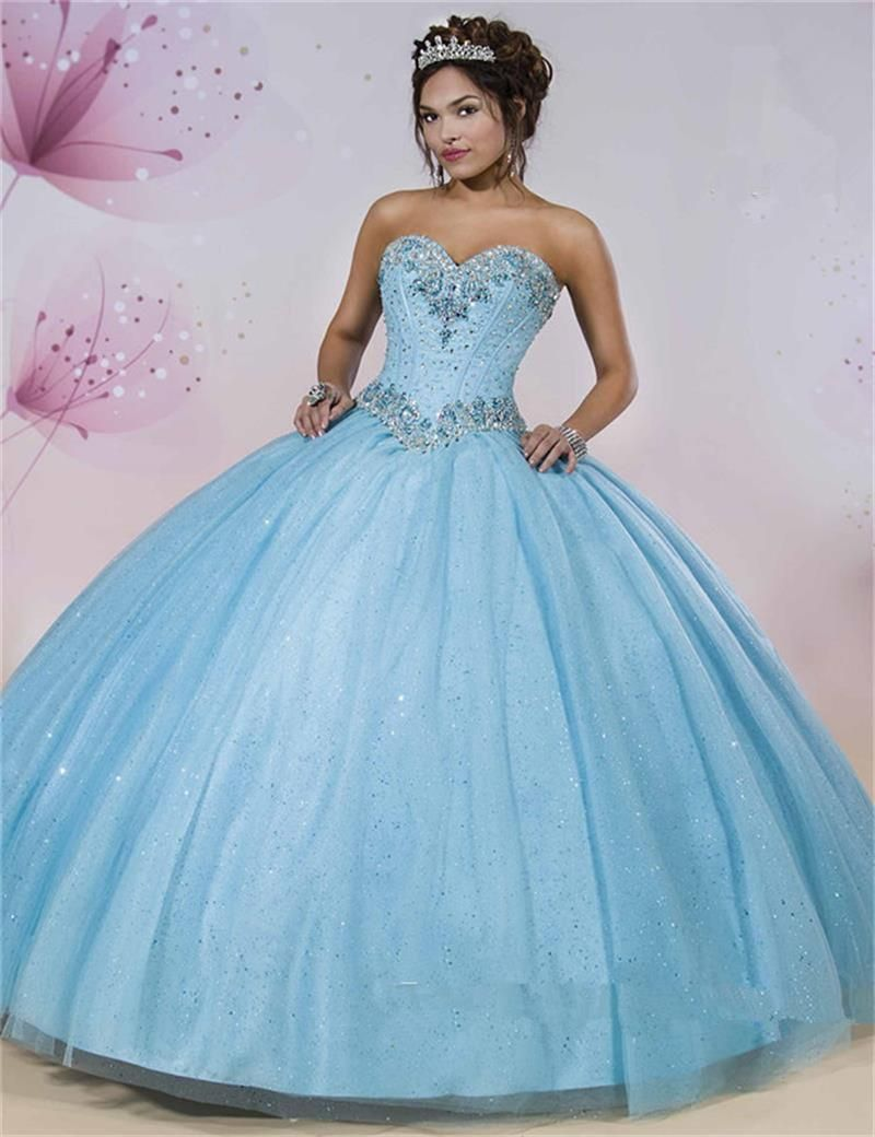 Click to Buy << Light Sky Blue Quinceanera Dresses 2016 Crystal ...