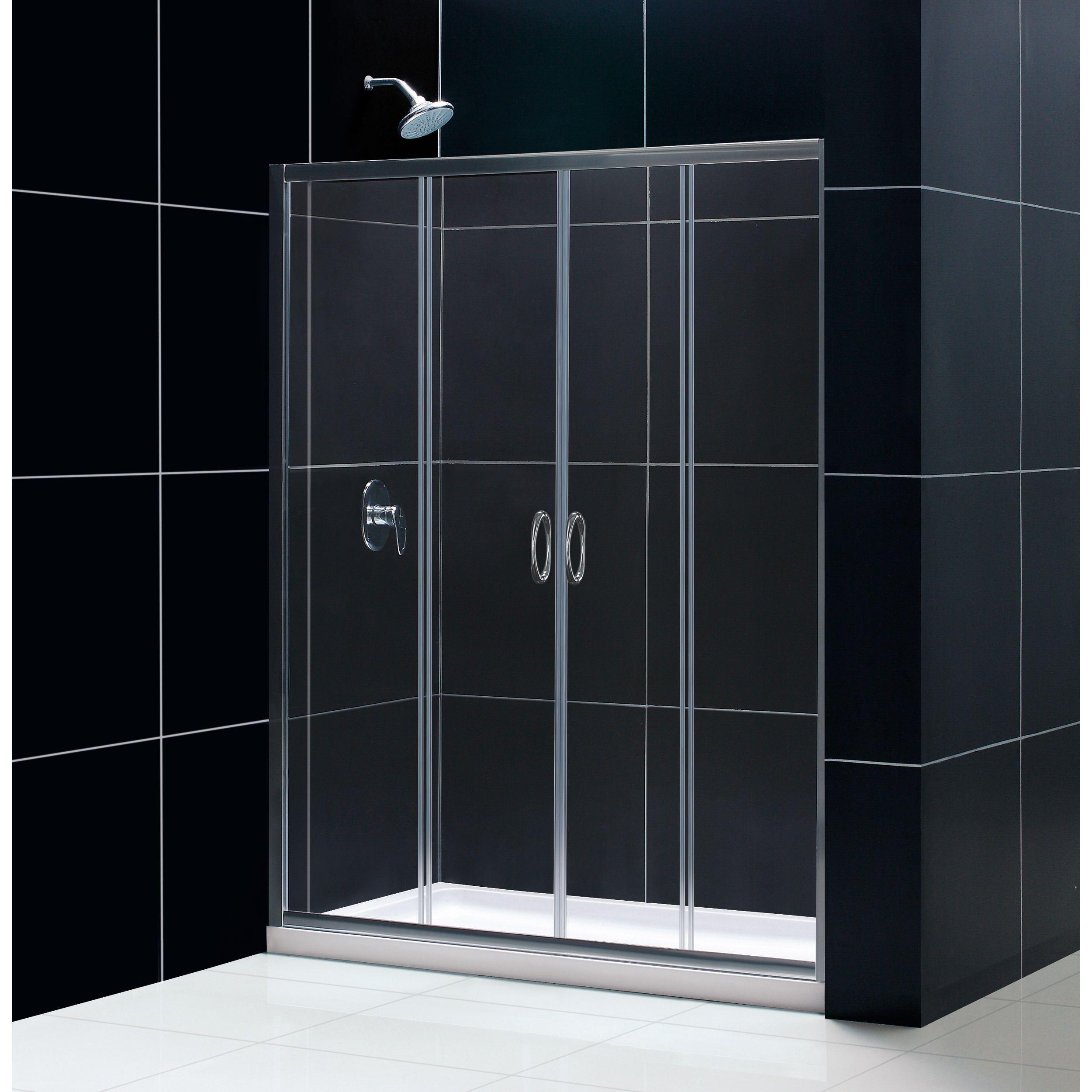Lesscare clear glass shower door ultra b 44 48 wide x 76 high chrome - Dreamline Visions Frameless Sliding Shower Door 32 X 60 Inch Single Threshold Shower Base