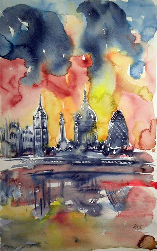 London By Night Watercolor City Painting Art