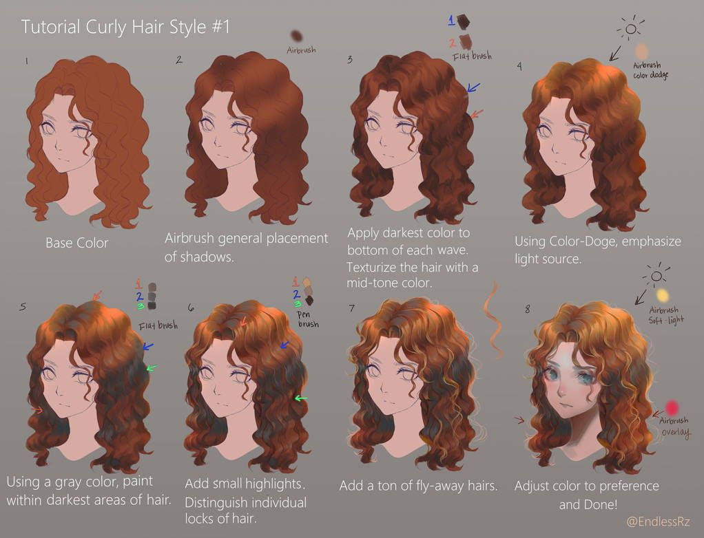 Tutorial Curly Hair Style 1 By Endlessrz On Deviantart Digital Art Tutorial Curly Hair Styles How To Draw Hair