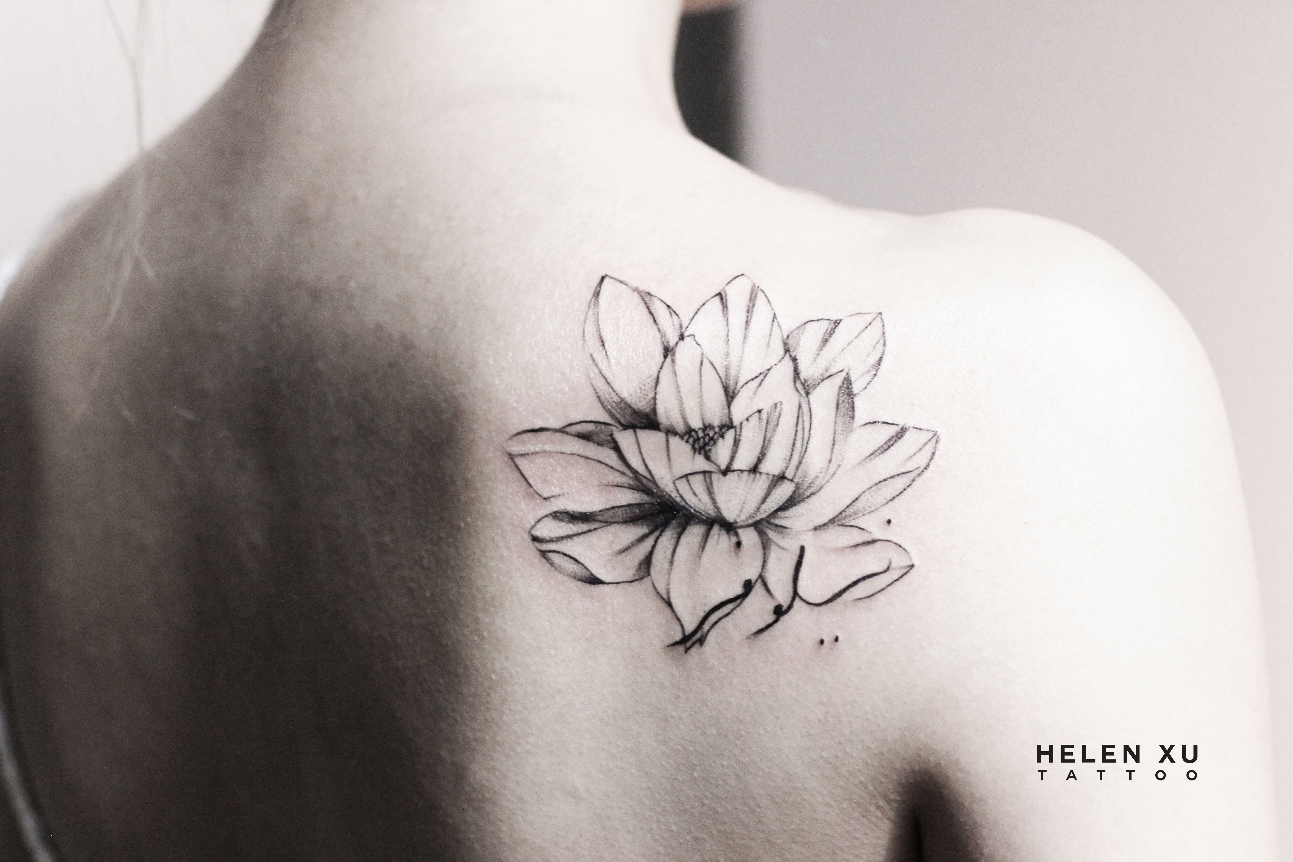Small Flower Tattoo Cute Fine Line Watercolor Unique Different Girly Cool Idea Black And Grey Lotus W Small Flower Tattoos Flower Tattoo Flower Tattoo Shoulder